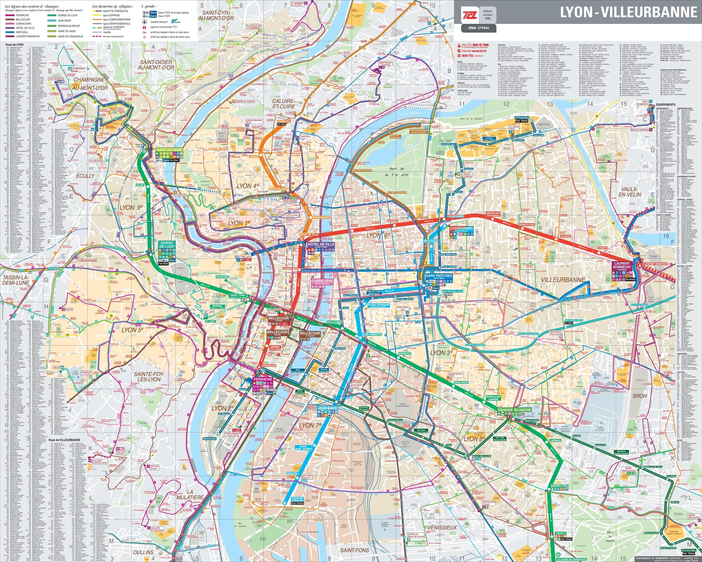 Lyon bus map pdf - Lyon france bus map (Auvergne-Rhône ...