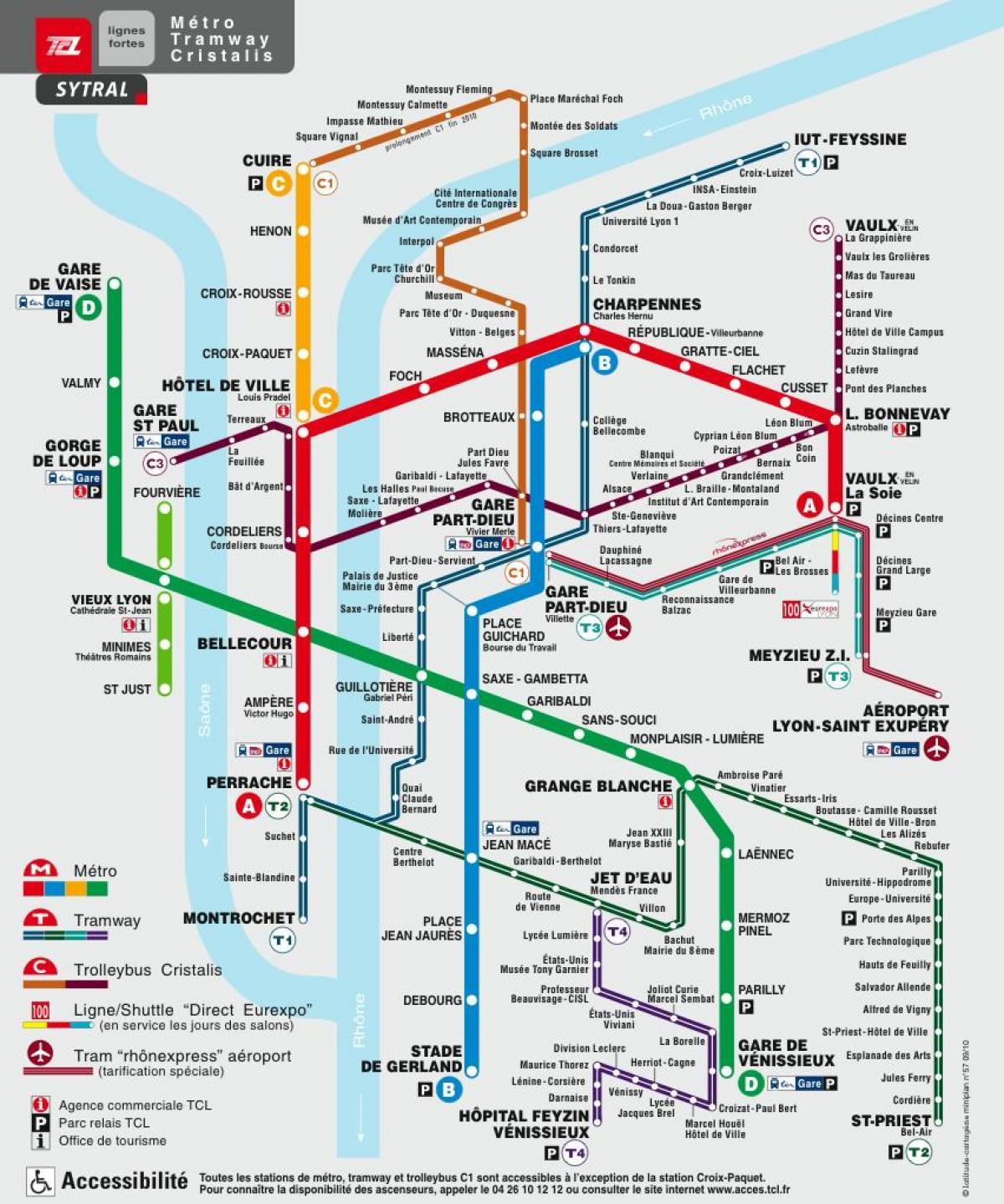 Lyon Underground Map (Auvergne-Rhône